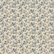 Blue Barn by Laundry Basket Quilts - 4854 - Rustic Gate, Traditional Floral in Faded Blue on Pale Beige - 42273 13 - Cotton Fabric